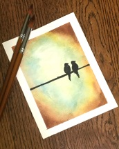 Watercolor -- birds on a wire